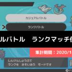 【ダブル】マスターランク級でのポケモン使用率!(2020/1/13〜1/19)