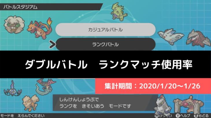 【ダブル】マスターランク級でのポケモン使用率!(2020/1/20~1/26)
