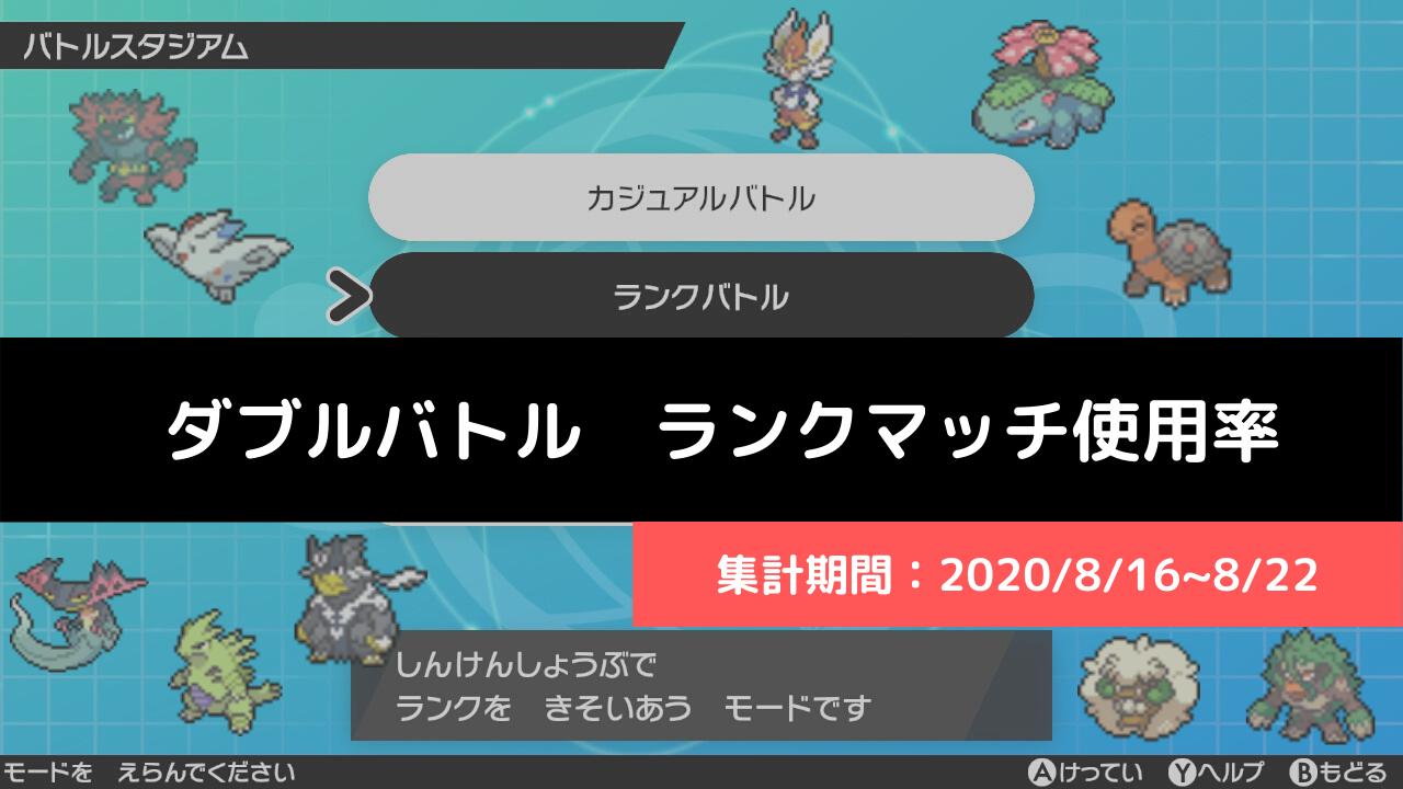 【ダブル】マスターランク級でのポケモン使用率!(2020/8/16~8/22)
